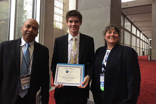 Medline representative Debashish Chakravarthy, chitosan grant recipient Louis Born and WHF President Laura K. S. Parnell