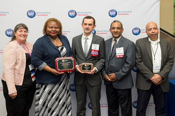 WHF President Laura K. S. Parnell with WHF Graciousness in Giving Medline representative Margaret Halstead, 1st  WHF-Medline Research Innovation Award recipient Ivan Jozic, Medline representatives Tom Koshy and Debashish Chakravarthy
