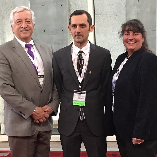 3M Representative Pat Parks, 2015 WHF-3M Fellow Ivan Jozic and WHF President Laura K. S. Parnell following Ivan's excellent lecture on caveolins