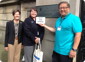 WHF Board Members Lisa Gould, Laura K. S. Parnell and Paul Y. Liu show their support of the Invictus Games Athletes while attending the European Tissue Repair Society meeting at the Royal College of Surgeons in Edinburgh, Scotland. Photo courtesy of Laura K. S. Parnell
