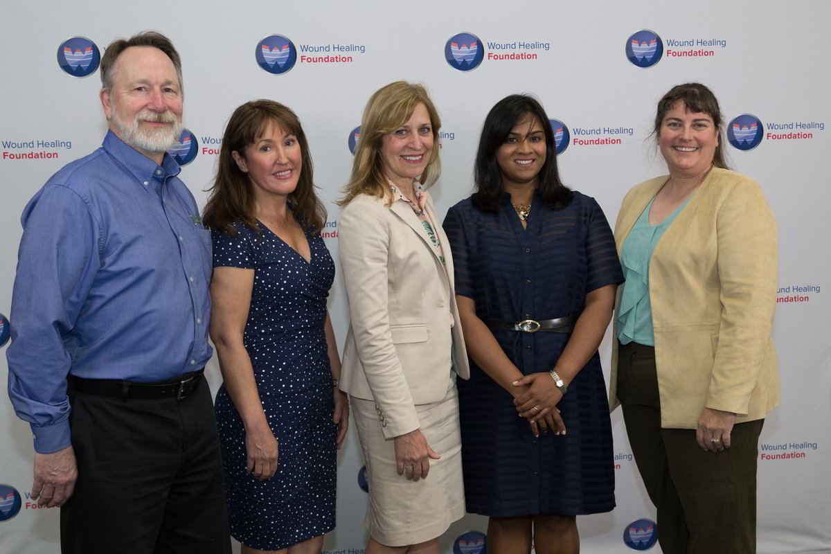 Representatives from the Wound Reach Foundation Tom Whelan, Shannon Mitchel, Barbara Bates-Jensen, 2017 WHF Clinical Flash Grant recipient Swathi Balaji, and WHF President Laura K. S. Parnell