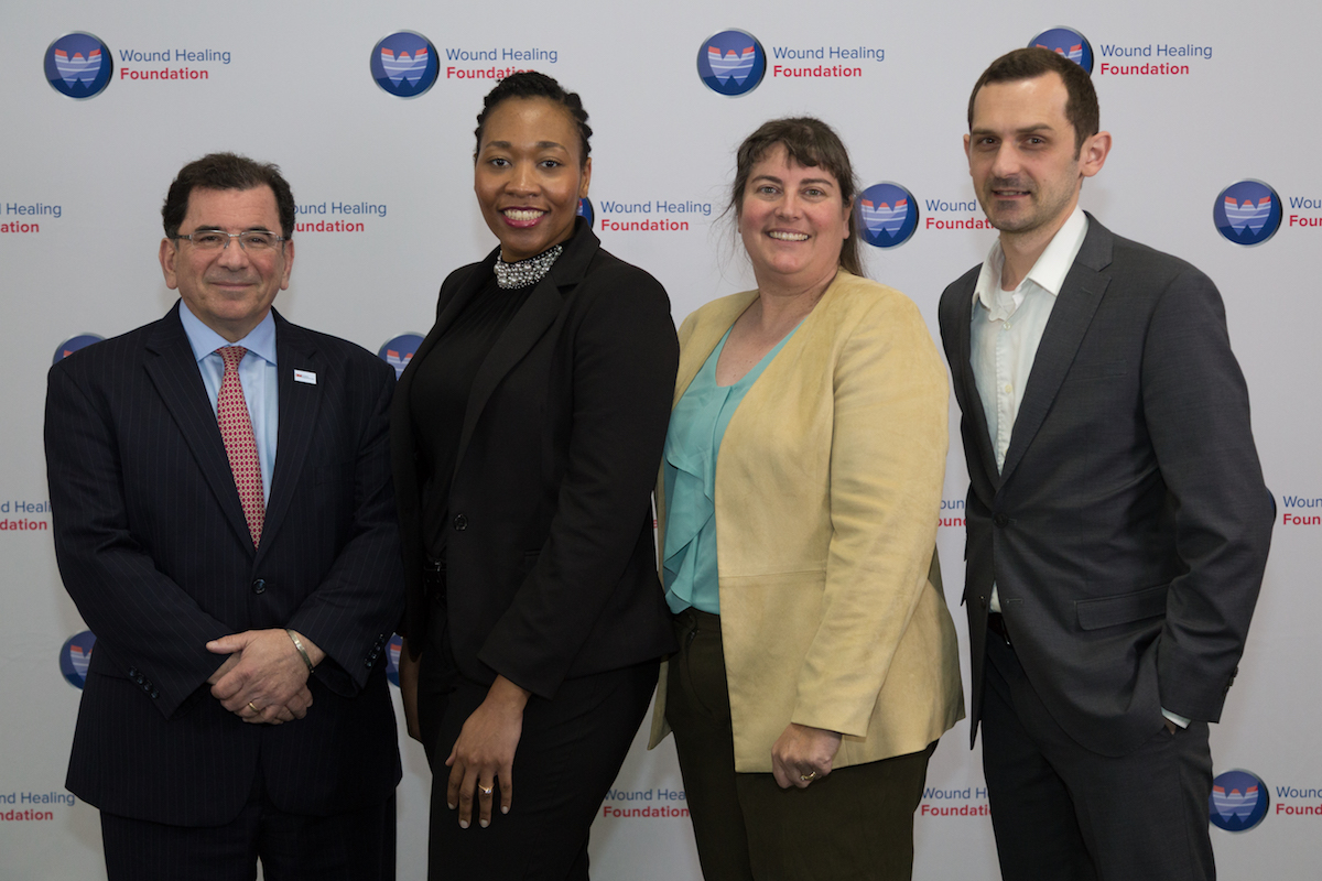 3M representative Matthew Cooper, 2017 WHF-3M Fellow Veronica Haywood, WHF President Laura K. S. Parnell, and 2015 Fellow and co-moderator Ivan Jozic